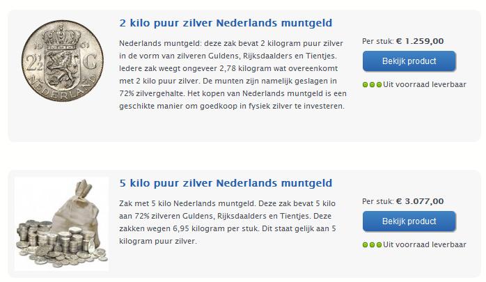 Overzicht Nederlands muntgeld per 20-07