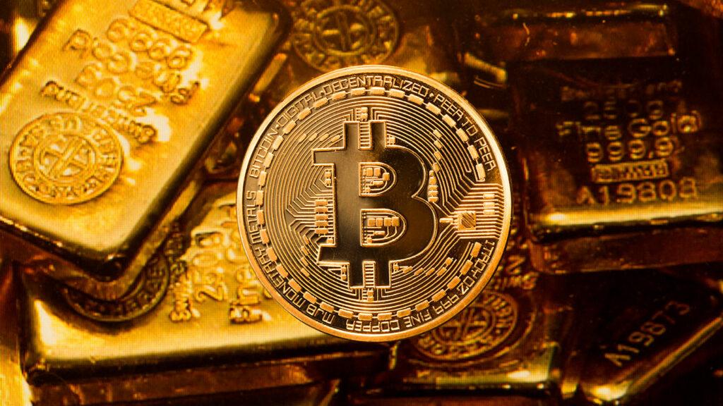 Bitcoin en goudbaar