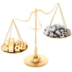 Weegschaal goud en zilver